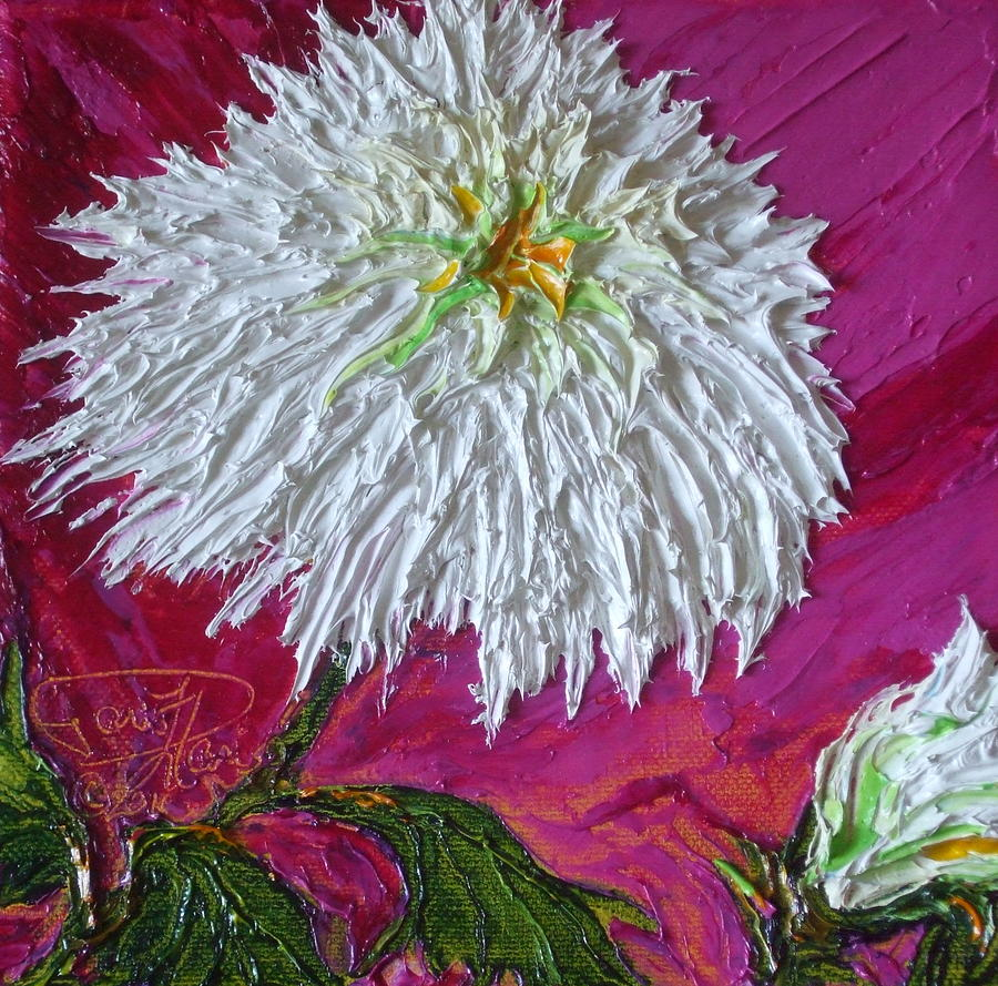 White Mum Painting  - White Mum Fine Art Print