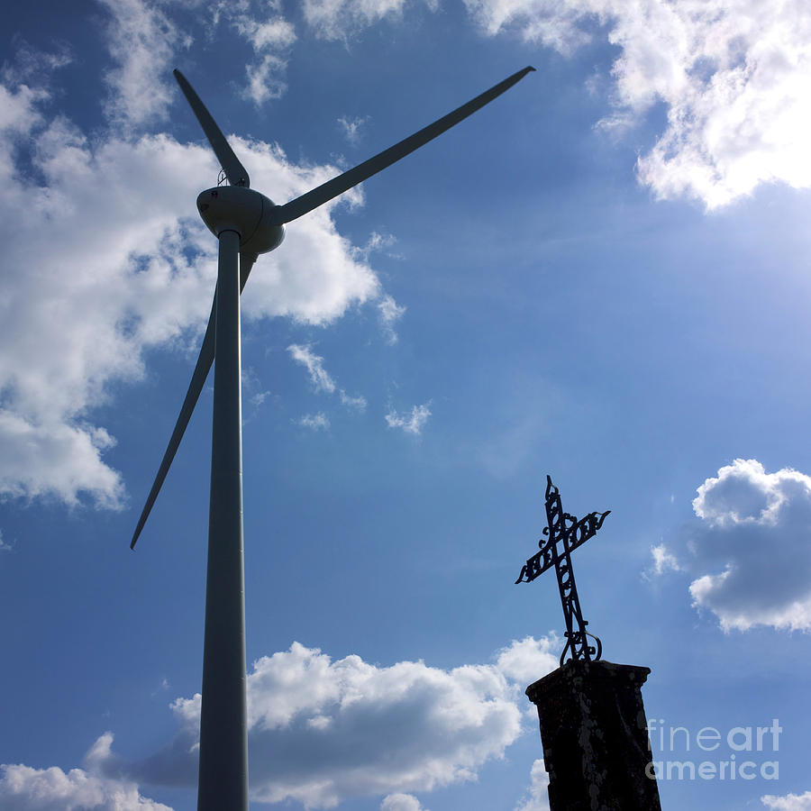 Worms-eye Photograph - Wind Turbine And Cross by Bernard Jaubert