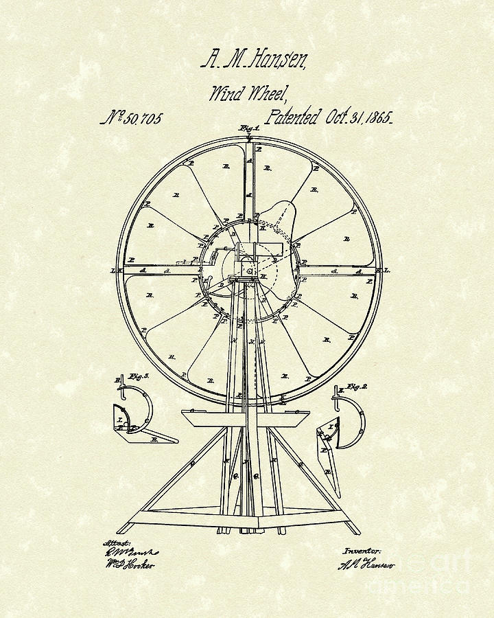 Wind Wheel 1865 Patent Art Drawing  - Wind Wheel 1865 Patent Art Fine Art Print