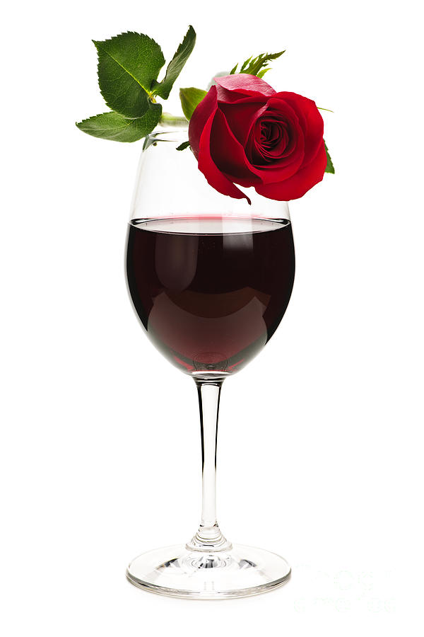 Wine With Red Rose Photograph  - Wine With Red Rose Fine Art Print