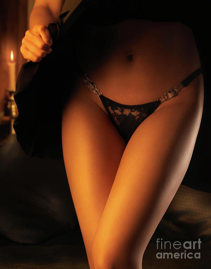 Woman Wearing Black Lacy Panties Photograph
