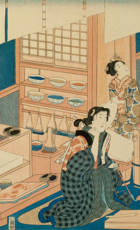 Woodblock Production Painting - Woodblock Production by Japanese School