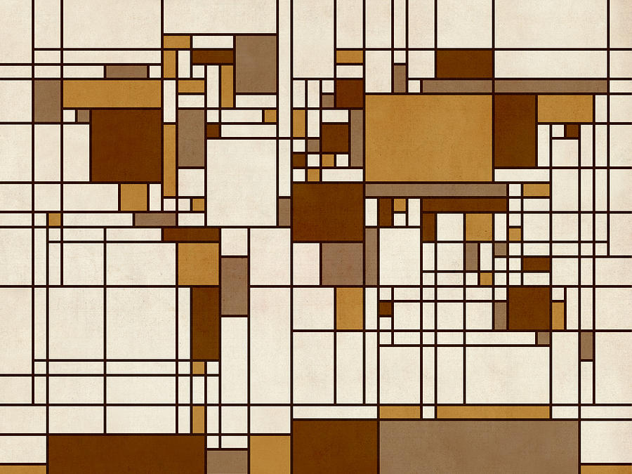 World Map Abstract Mondrian Style Digital Art