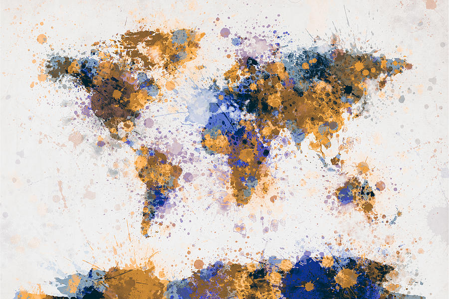 World Map Paint Splashes Digital Art