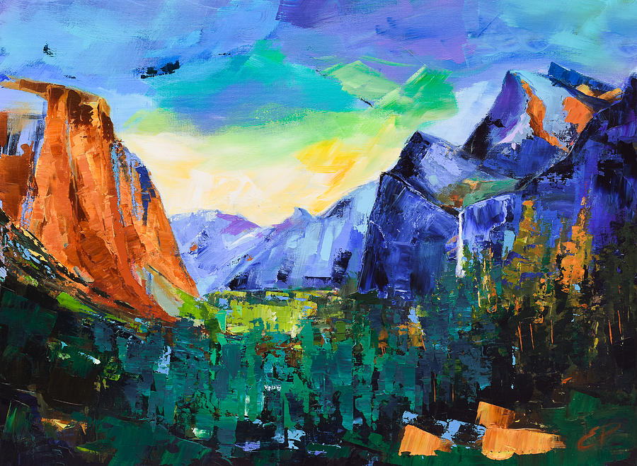 Yosemite Valley Painting - Yosemite Valley - Tunnel View by Elise Palmigiani
