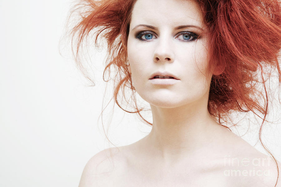 Young Fashion Model With Curly Red Hair. Photograph