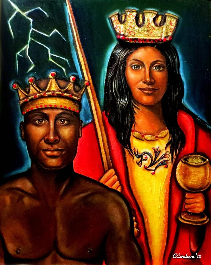 Chango And Saint Barbara Painting