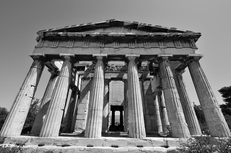 Hephaestus; Market; Monument; Athens; City; Capital; Attica; Attika; Attiki; Greece; Hellas; Greek; Hellenic; Europe; European; Temple; Ancient; Pillars; Pattern; Motif; Holidays; Vacation; Travel; Trip; Voyage; Journey; Tourism; Touristic; Summer; Black And White; Black + White; B/w; B&w; B+w Photograph - Hephaestus Temple by George Atsametakis