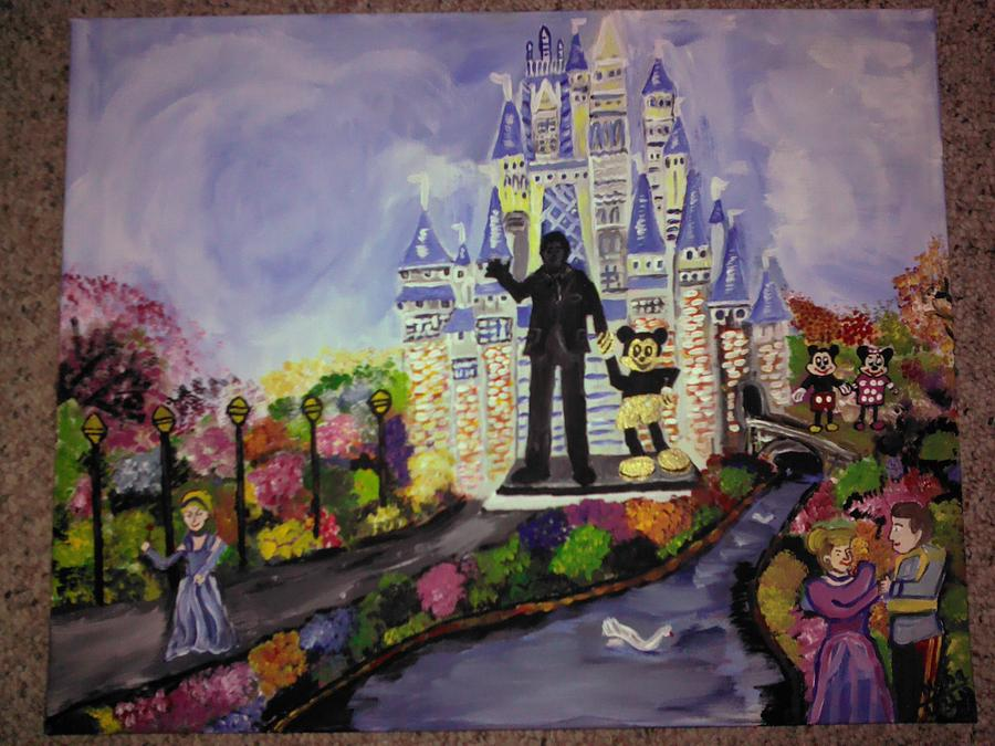 Walt Disney Land.with New Getup.statue.landscape Painting - Painting by Neha  Shah