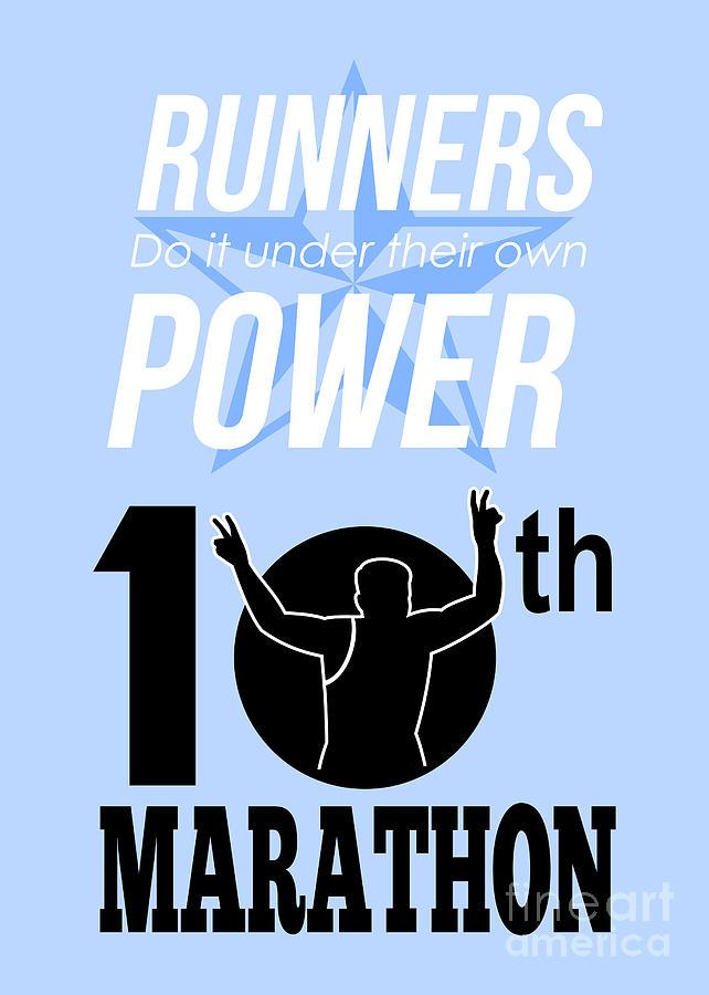 10th Marathon Race Poster  Digital Art
