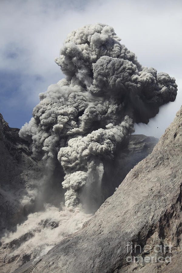 Ash Cloud Rises From Crater Of Batu Photograph