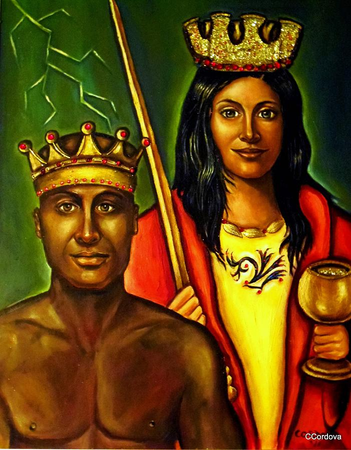 Chango And Saint Barbara Painting  - Chango And Saint Barbara Fine Art Print