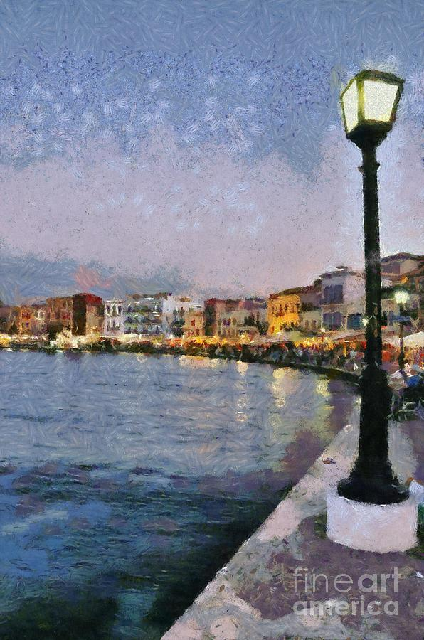 Painting Of The Old Port Of Chania Painting  - Painting Of The Old Port Of Chania Fine Art Print