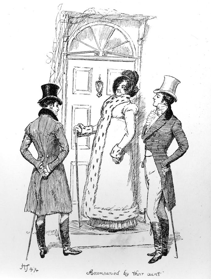 Accompanied By Their Aunt; Illustration; Pride And Prejudice; Jane Austen; Edition; Illustrated; Lady Catherine De Bourgh; Mr; Darcy; Colonel Fitzwillliam; Character; Cousin; Cousins; Visiting; Calling; Hunsford; Parsonage; Regency; Georgian; Costume; Gentlemen; Visit Drawing - Scene From Pride And Prejudice By Jane Austen by Hugh Thomson
