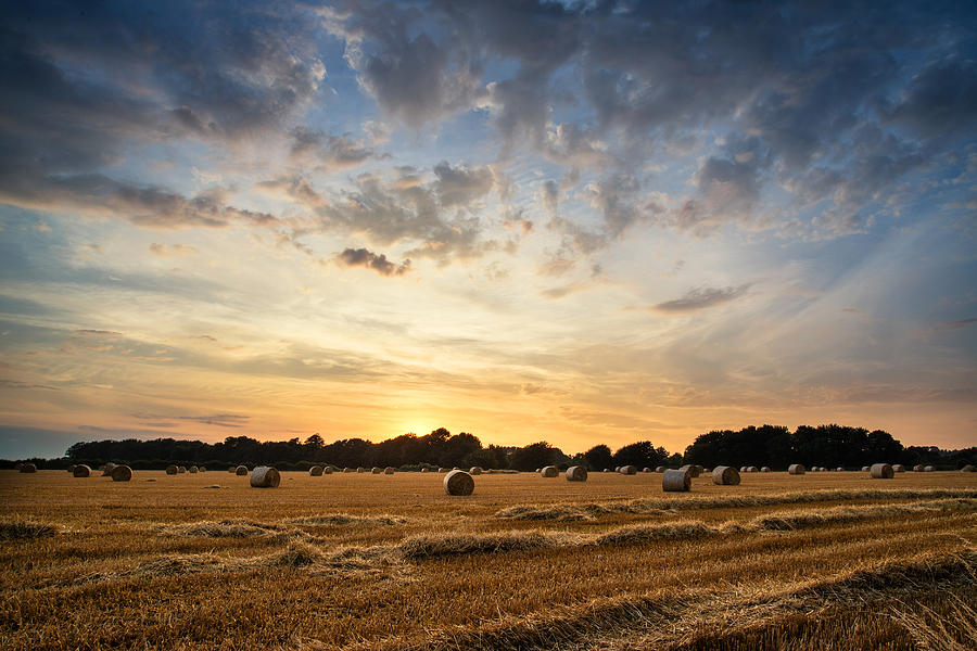 Stunning Summer Landscape Of Hay Bales In Field At Sunset Photograph