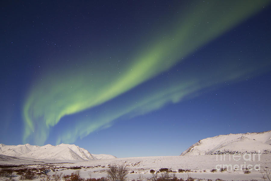 Aurora Borealis With Moonlight Photograph