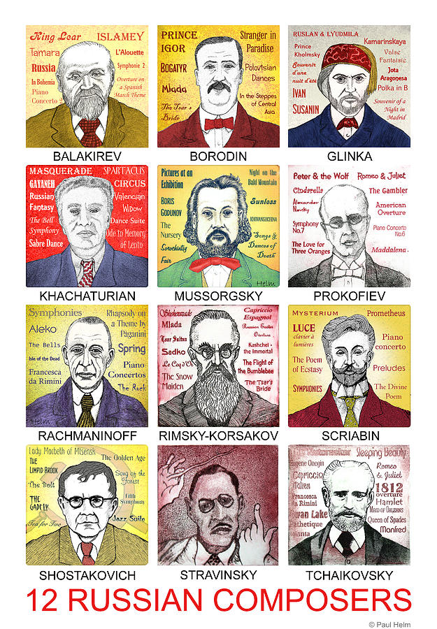 12 Russian Composers Drawing