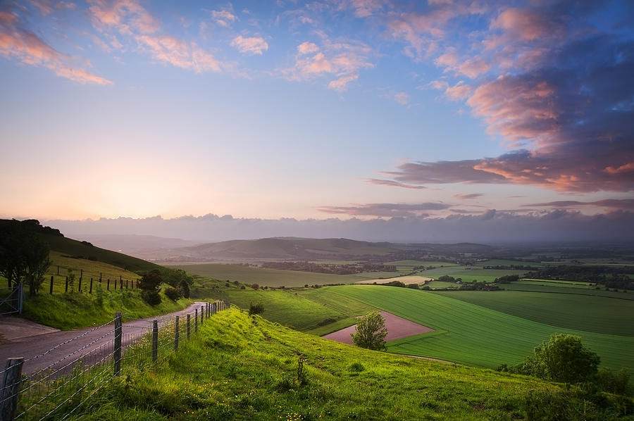 Beautiful English Countryside Landscape Over Rolling Hills Photograph