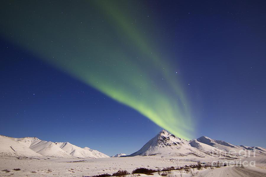 Aurora Borealis With Moonlight Photograph