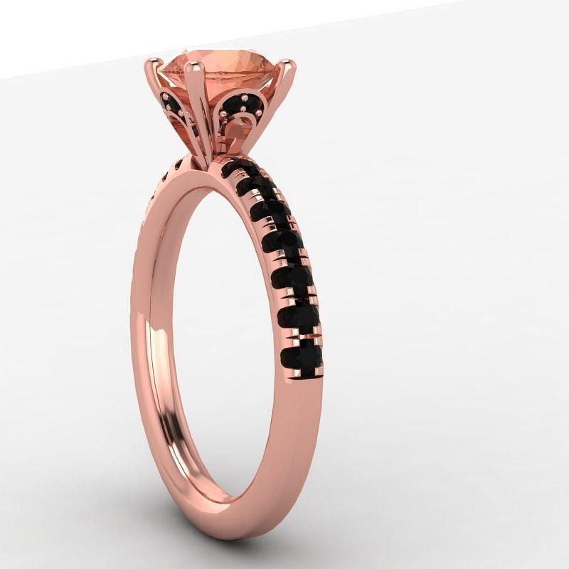 14k Rose Gold Black Diamond Ring With Morganite Center Stone Jewelry