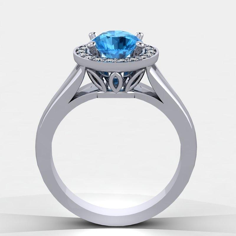 14k White Gold Diamond Ring With Blue Topaz Center Stone Jewelry