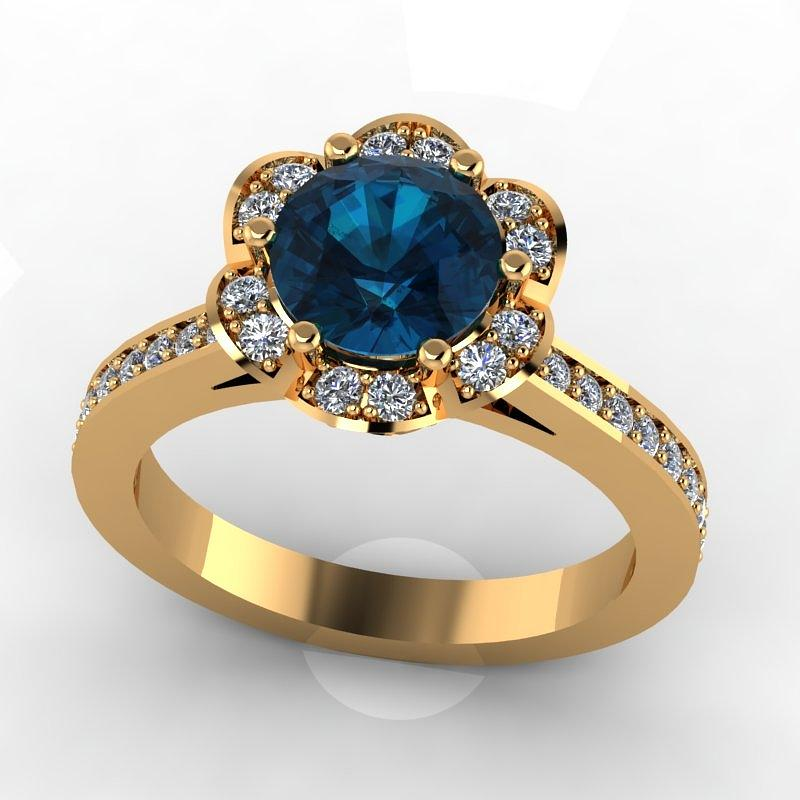 14k Yellow Gold Diamond Ring With Blue Topaz Center Stone Jewelry