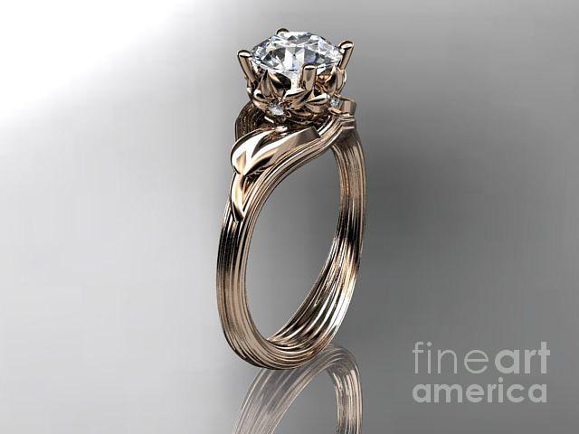 14kt rose gold diamond flower leaf and vine wedding ring