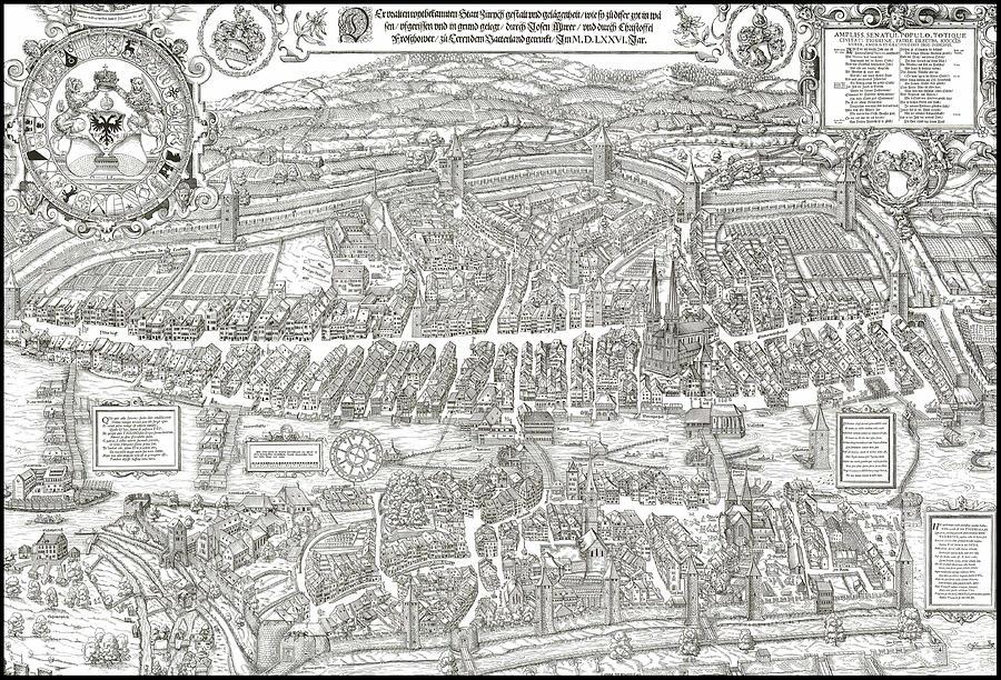 1576 Zurich Switzerland Map Digital Art