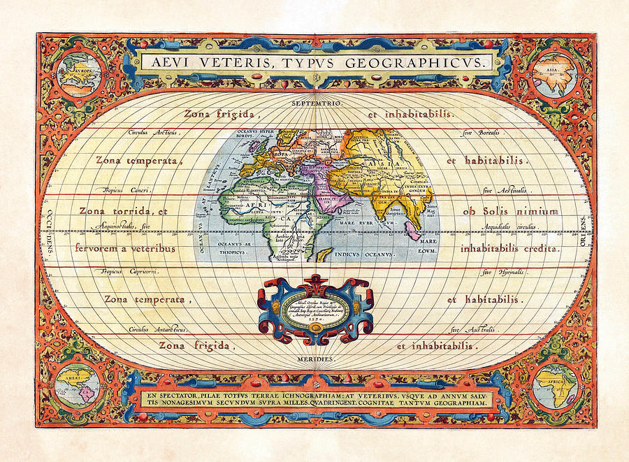 1590 Historical World Rare Map Aevi Veteris Typus Geographicus Photograph  - 1590 Historical World Rare Map Aevi Veteris Typus Geographicus Fine Art Print