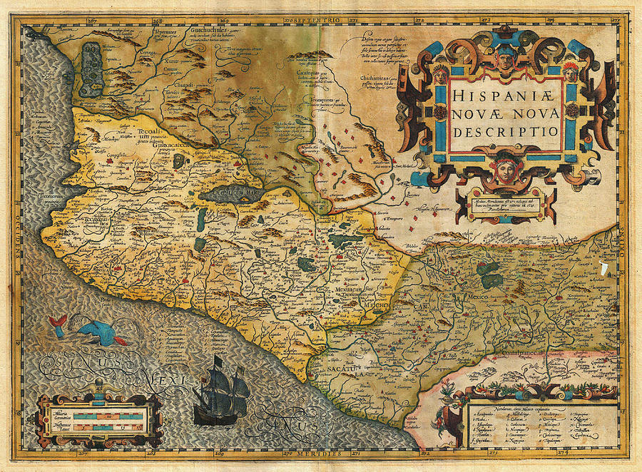 1606 Hondius And Mercator Map Of Mexico Geographicus Hispaniae Nova Mexico Mercator 1606 Painting