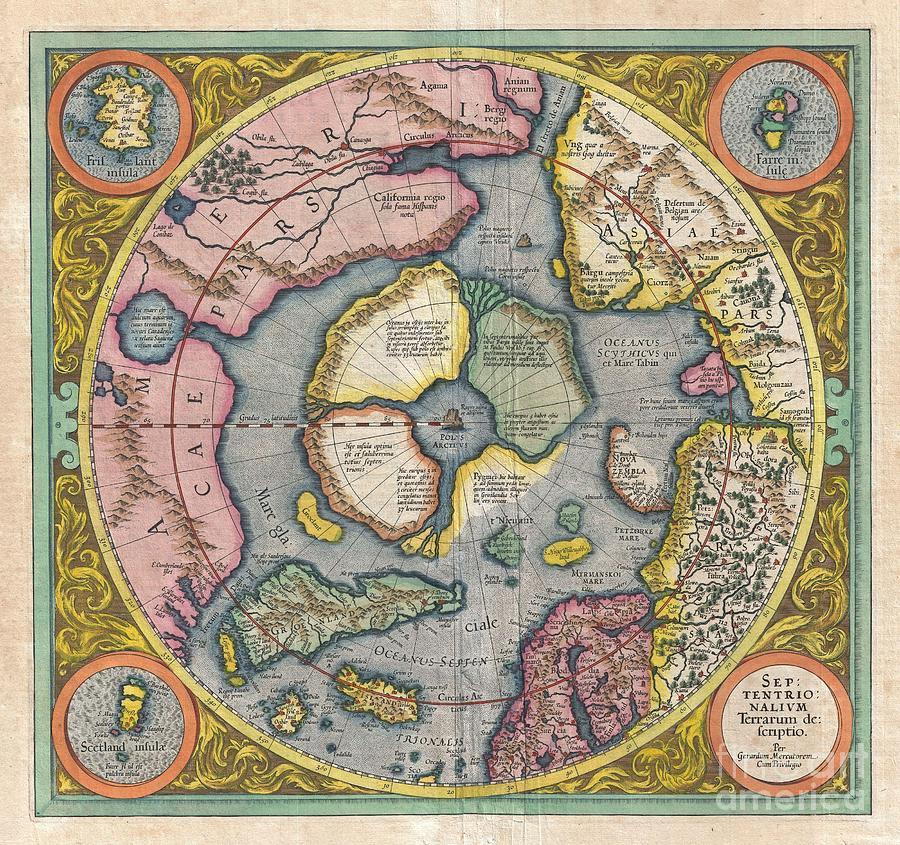 1606 Mercator Hondius Map Of The Arctic Photograph