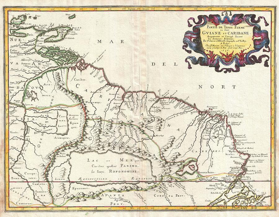 This Is N. Sanson's Remarkable 1656 Map Of The Northwestern Parts Of South America  Photograph - 1656 Sanson Map Of Guiana Venezuela And El Dorado by Paul Fearn