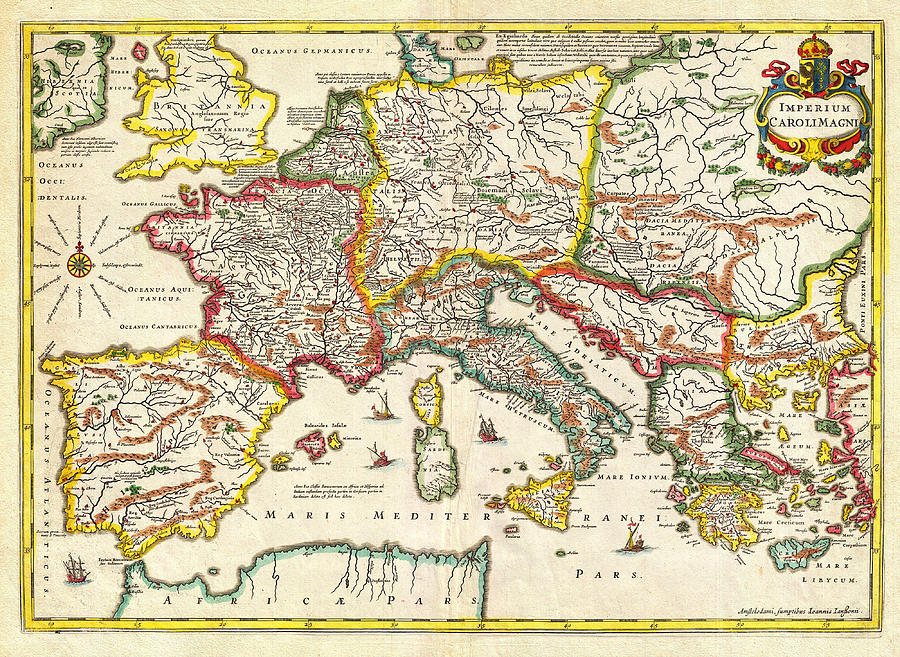 1657 Jansson Map Of The Empire Ofcharlemagne Geographicus Carolimagni Jansson 1657 Painting