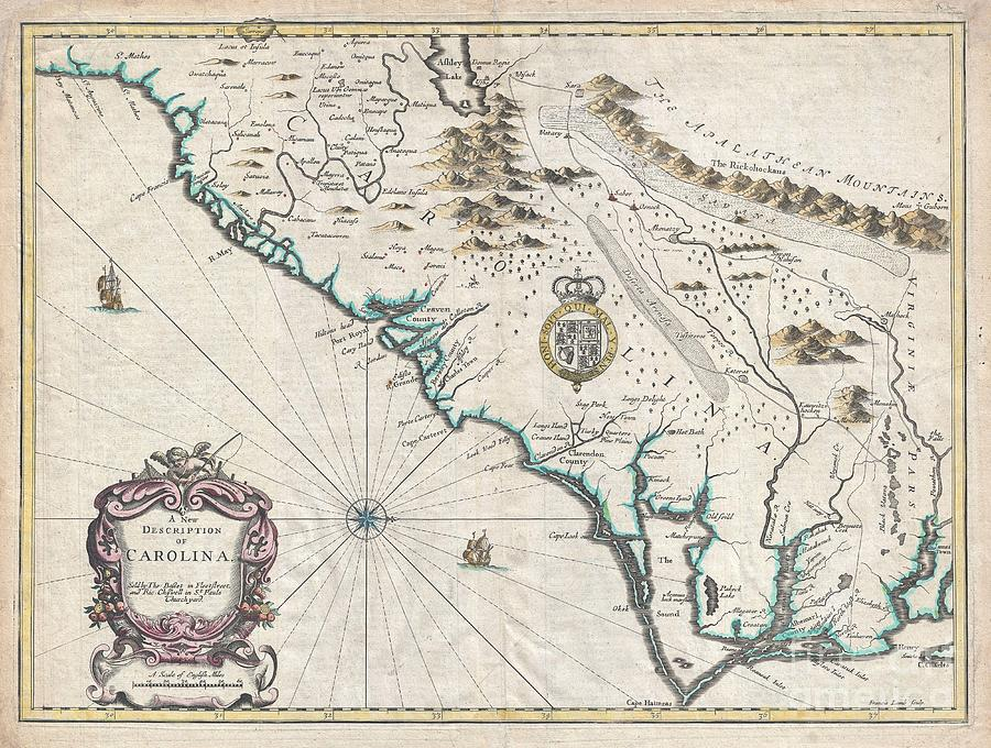 1676 John Speed Map Of Carolina Photograph