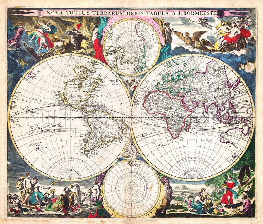 1685 Bormeester Map Of The World Geographicus Terrarumorbis Bormeester 1685 Painting  - 1685 Bormeester Map Of The World Geographicus Terrarumorbis Bormeester 1685 Fine Art Print