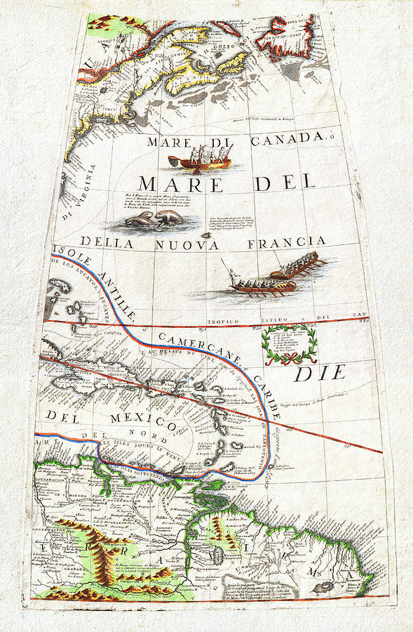 1688 Coronelli Globe Gore Map Of Ne North America The West Indies And Ne South America Geographicus  Painting  - 1688 Coronelli Globe Gore Map Of Ne North America The West Indies And Ne South America Geographicus  Fine Art Print