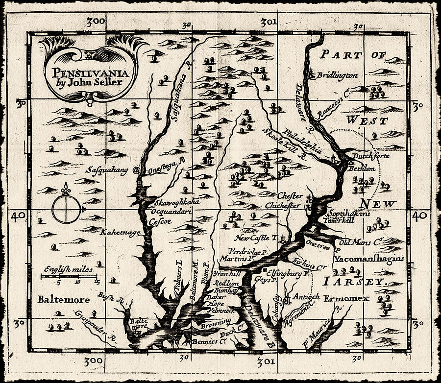 1690 Pennsylvania Map Drawing  - 1690 Pennsylvania Map Fine Art Print