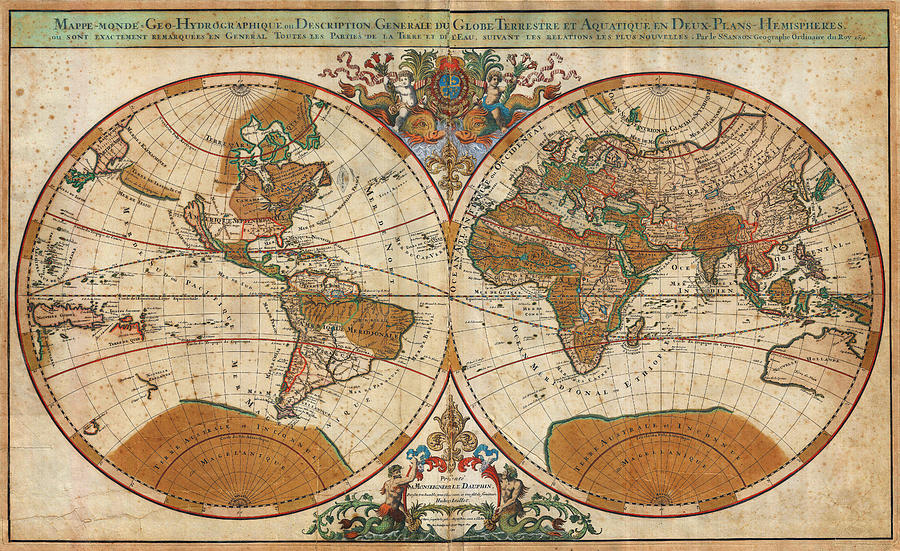 1691 Sanson Map Of The World On Hemisphere Projection Geographicus World Sanson 1691 Painting