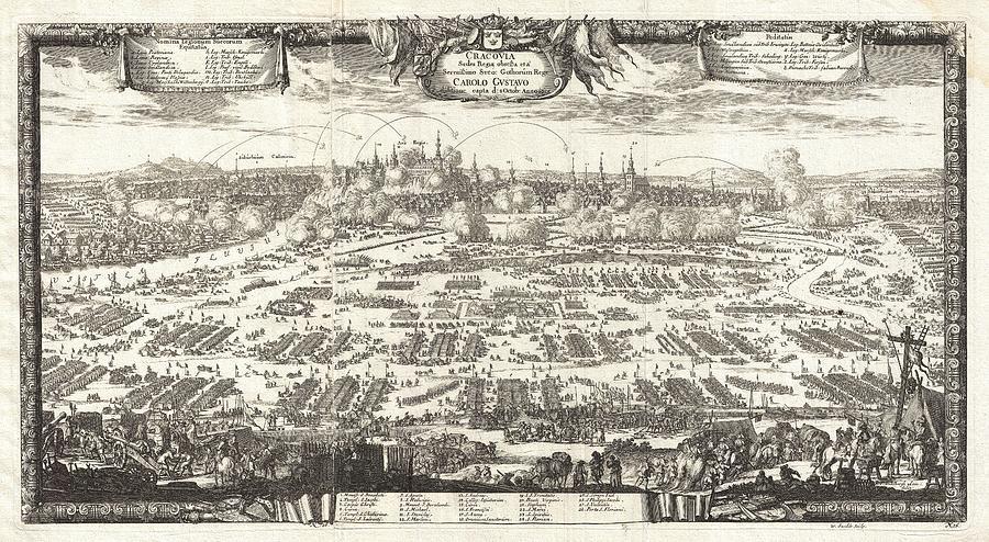 1697 Pufendorf View Of Krakow Cracow Poland Geographicus Krakow Pufendorf 1655 Painting