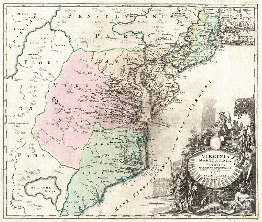 An Exceptionally Beautiful Example Of J. B. Homann's C. 1715 Map Of Virginia Photograph - 1715 Homann Map Of Carolina Virginia Maryland And New Jersey by Paul Fearn