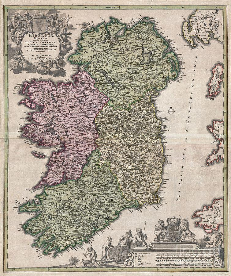 1716 Homann Map Of Ireland Photograph