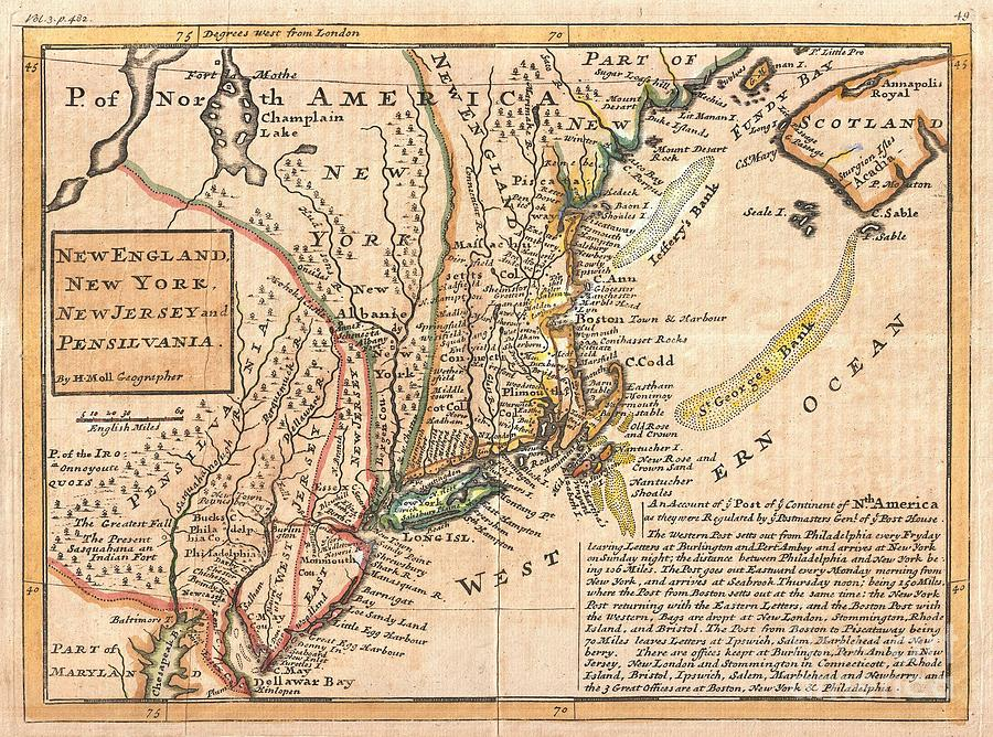 1729 Moll Map Of New York New England And Pennsylvania  Photograph  - 1729 Moll Map Of New York New England And Pennsylvania  Fine Art Print