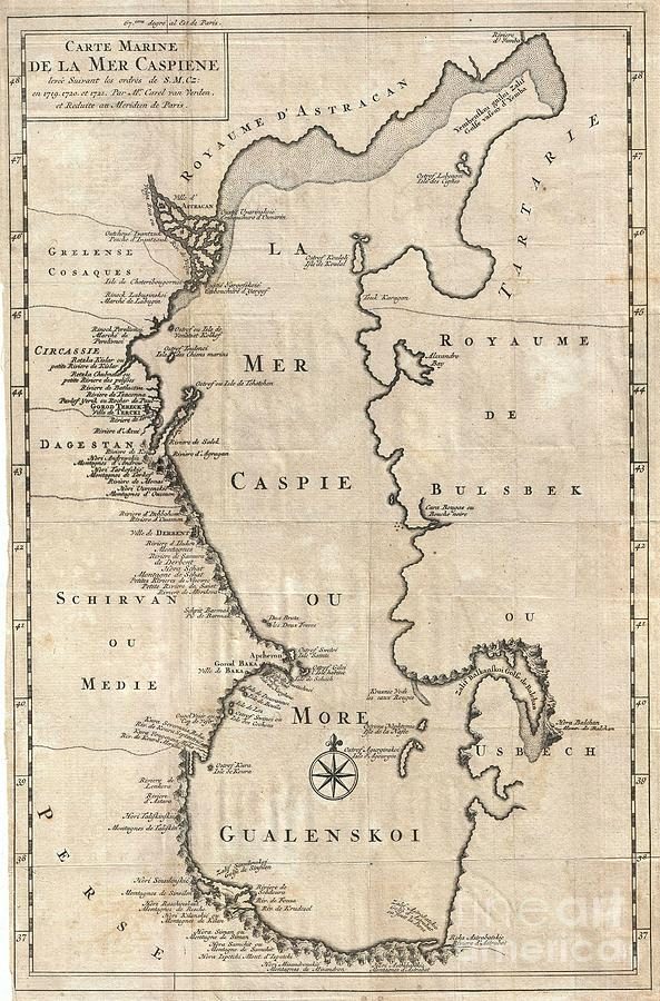 1730 Van Verden Map Of The Caspian Sea Photograph