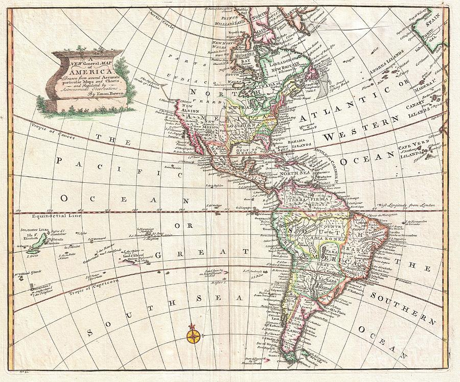 A Stunning 1747 Decorative Map Of The Western Hemisphere By E. Bowen. Covers North And South America As Well As Much Of The Pacific And The Atlantic As Far As Spain And The Canary Islands. Details America During The Colonial Period. In North America Photograph - 1747 Bowen Map Of North America And South America by Paul Fearn