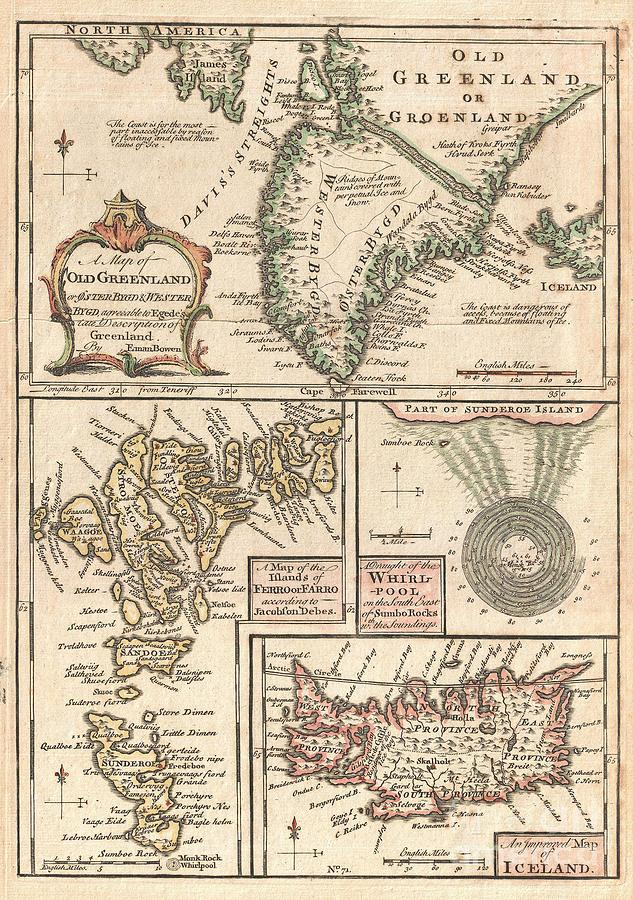 A Singularly Fascinating 1747 Map Of Greenland Photograph - 1747 Bowen Map Of The North Atlantic Islands Greenland Iceland Faroe Islands by Paul Fearn