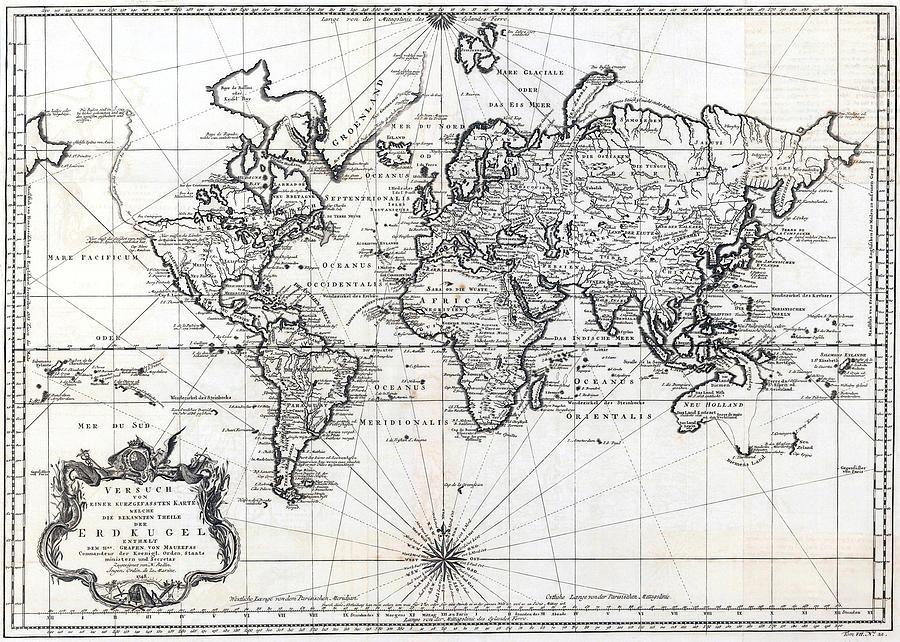 1748 Antique World Map Versuch Von Einer Kurzgefassten Karte  Photograph