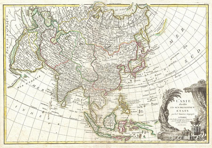 : A Beautiful Example Of Le Sieur Janvier's 1771 Map Of Asia. Covers From Africa And The Mediterranean East To Bering Strait (detroit Du Norte Ou D'anian) And South As Far As Java And New Guinea. This Map Is Most Interesting In Its Rendering Of The Largely Unexplored Extreme Northwest Of Asia. Yeco Or Hokkaido Is Mapped Only Speculatively With Its Western Borders Unknown. Shows Sakhalin Island In An Embryonic State. Just To The East Of Yeco (hokkaido) Photograph - 1770 Janvier Map Of Asia by Paul Fearn