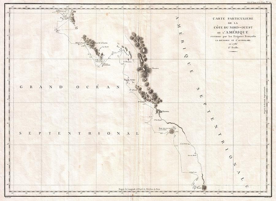 1786 La Perouse Map Of Vancouver And British Columbia Canada Photograph