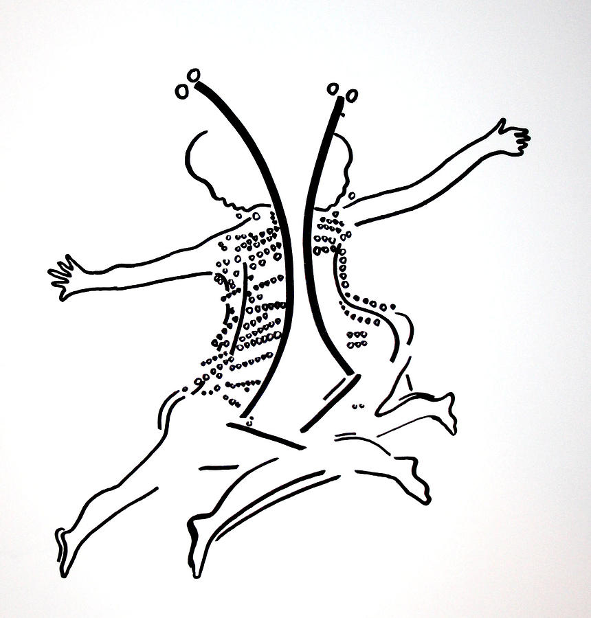 Dinka Dance - South Sudan Drawing