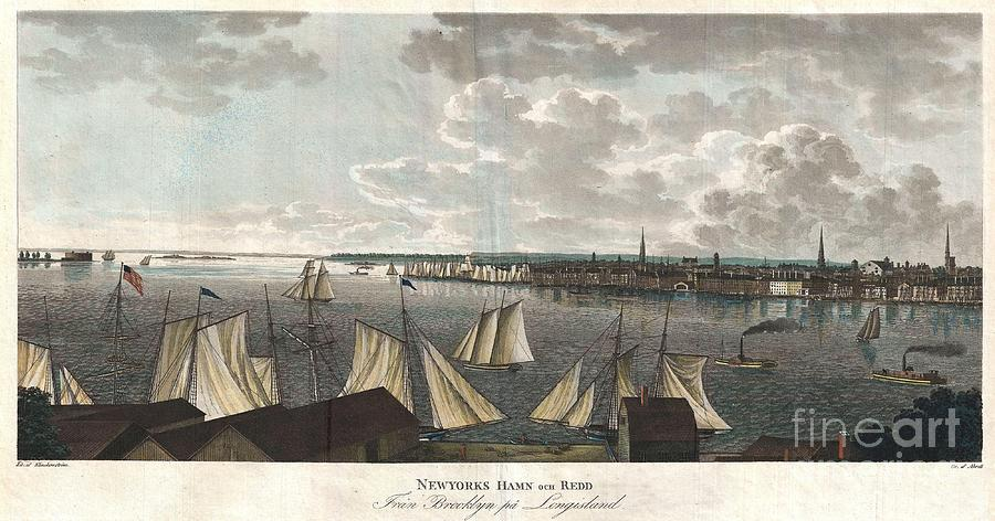 """A Fine And Highly Desirable 1824 Aquatint Of New York City And Harbor As Seen From Brooklyn. Based On A Drawing Composed By The Swedish Naval Officer Baron Axel Leonhard Klinkowström On His 1818 – 1820 Tour Of The United States. Klinkowström Was Sent To New York To Assess The Strategic Value Of The Newly Invented Steam Ship For The Use By The Swedish Navy. Accordingly This Stunning View Shows An Assortment Of Sail And Steam Ships Plying The New York Harbor. Stokes Notes That This """"view Is Interesting Particularly As Showing The Types Of Steam Ferries And Sail-boats In Use At This Period."""" No Description Of This Print Photograph - 1824 Klinkowstrom View Of New York City From Brooklyn  by Paul Fearn"""